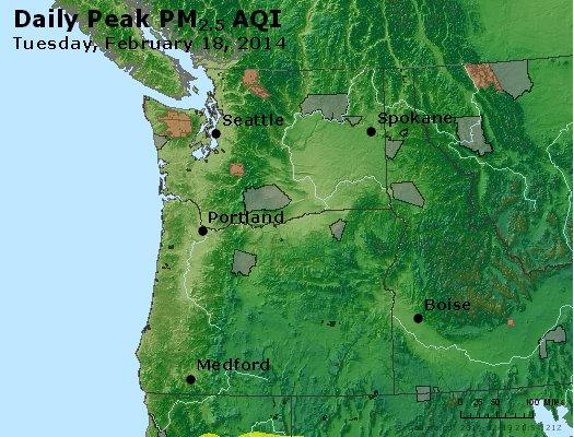 Peak Particles PM<sub>2.5</sub> (24-hour) - http://files.airnowtech.org/airnow/2014/20140218/peak_pm25_wa_or.jpg