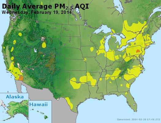 Peak Particles PM<sub>2.5</sub> (24-hour) - http://files.airnowtech.org/airnow/2014/20140219/peak_pm25_usa.jpg