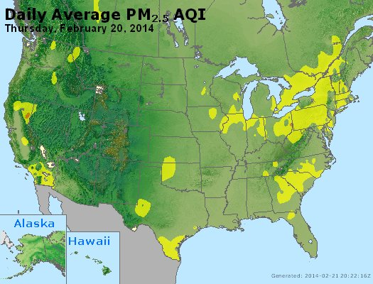 Peak Particles PM<sub>2.5</sub> (24-hour) - http://files.airnowtech.org/airnow/2014/20140220/peak_pm25_usa.jpg