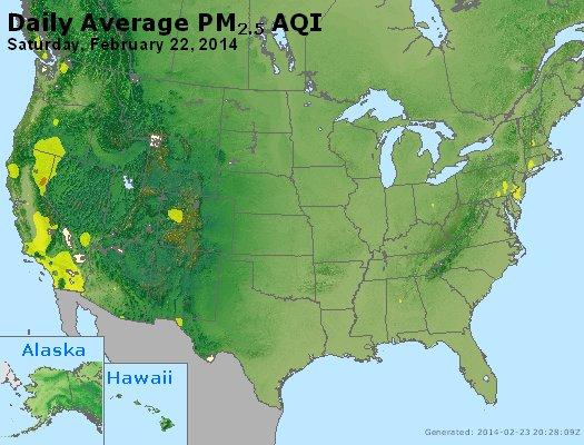 Peak Particles PM<sub>2.5</sub> (24-hour) - http://files.airnowtech.org/airnow/2014/20140222/peak_pm25_usa.jpg