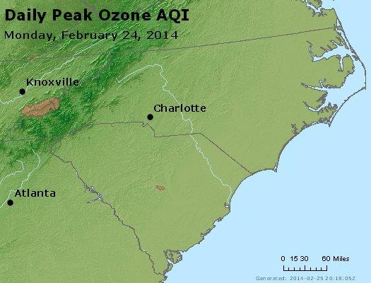 Peak Ozone (8-hour) - http://files.airnowtech.org/airnow/2014/20140224/peak_o3_nc_sc.jpg