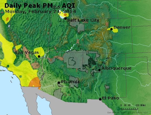 Peak Particles PM<sub>2.5</sub> (24-hour) - http://files.airnowtech.org/airnow/2014/20140224/peak_pm25_co_ut_az_nm.jpg