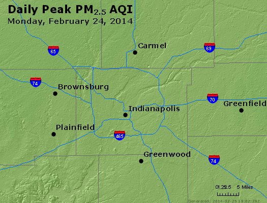 Peak Particles PM<sub>2.5</sub> (24-hour) - http://files.airnowtech.org/airnow/2014/20140224/peak_pm25_indianapolis_in.jpg