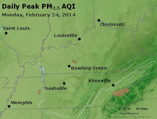 Peak Particles PM<sub>2.5</sub> (24-hour) - http://files.airnowtech.org/airnow/2014/20140224/peak_pm25_ky_tn.jpg