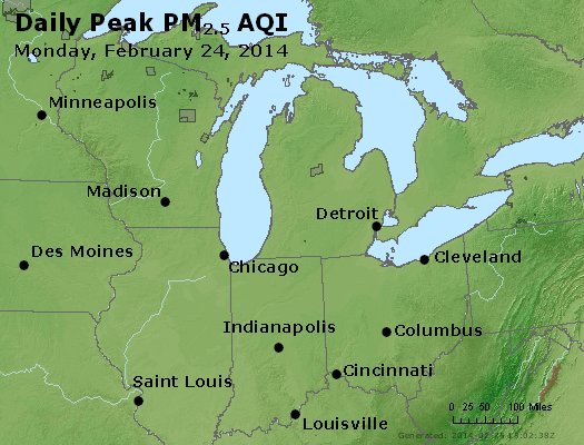 Peak Particles PM<sub>2.5</sub> (24-hour) - http://files.airnowtech.org/airnow/2014/20140224/peak_pm25_mi_in_oh.jpg