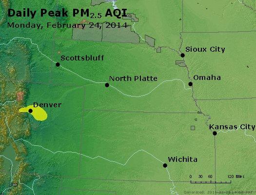 Peak Particles PM<sub>2.5</sub> (24-hour) - http://files.airnowtech.org/airnow/2014/20140224/peak_pm25_ne_ks.jpg