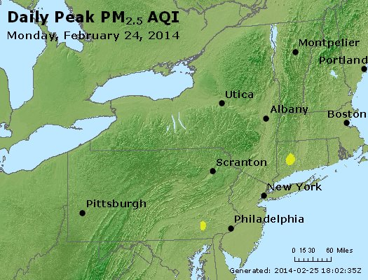 Peak Particles PM<sub>2.5</sub> (24-hour) - http://files.airnowtech.org/airnow/2014/20140224/peak_pm25_ny_pa_nj.jpg