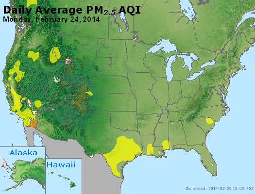 Peak Particles PM<sub>2.5</sub> (24-hour) - http://files.airnowtech.org/airnow/2014/20140224/peak_pm25_usa.jpg