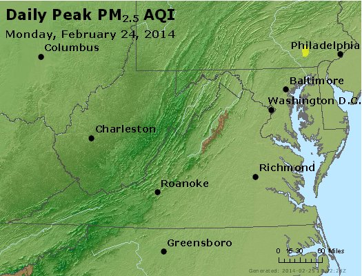 Peak Particles PM<sub>2.5</sub> (24-hour) - http://files.airnowtech.org/airnow/2014/20140224/peak_pm25_va_wv_md_de_dc.jpg