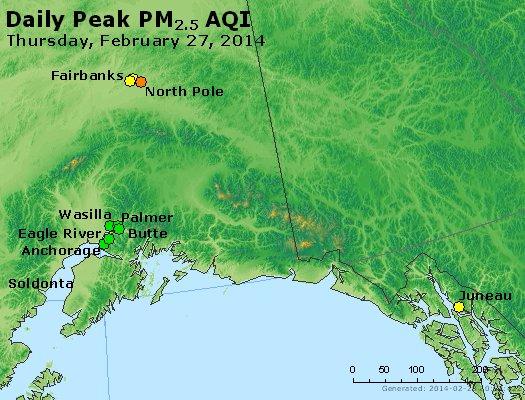 Peak Particles PM<sub>2.5</sub> (24-hour) - http://files.airnowtech.org/airnow/2014/20140227/peak_pm25_alaska.jpg