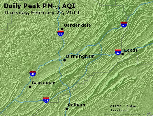 Peak Particles PM<sub>2.5</sub> (24-hour) - http://files.airnowtech.org/airnow/2014/20140227/peak_pm25_birmingham_al.jpg