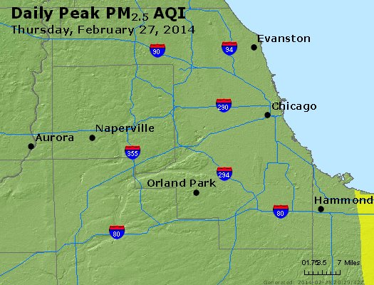 Peak Particles PM<sub>2.5</sub> (24-hour) - http://files.airnowtech.org/airnow/2014/20140227/peak_pm25_chicago_il.jpg
