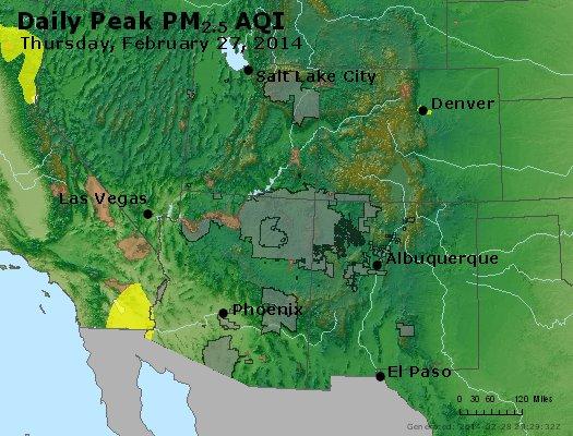 Peak Particles PM<sub>2.5</sub> (24-hour) - http://files.airnowtech.org/airnow/2014/20140227/peak_pm25_co_ut_az_nm.jpg