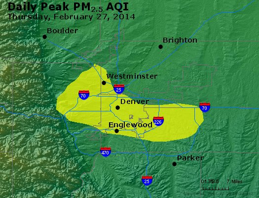 Peak Particles PM<sub>2.5</sub> (24-hour) - http://files.airnowtech.org/airnow/2014/20140227/peak_pm25_denver_co.jpg