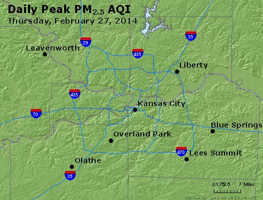 Peak Particles PM<sub>2.5</sub> (24-hour) - http://files.airnowtech.org/airnow/2014/20140227/peak_pm25_kansascity_mo.jpg
