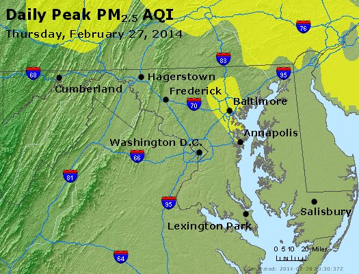 Peak Particles PM<sub>2.5</sub> (24-hour) - http://files.airnowtech.org/airnow/2014/20140227/peak_pm25_maryland.jpg