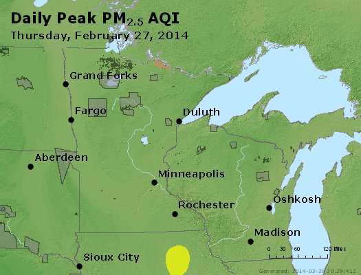 Peak Particles PM<sub>2.5</sub> (24-hour) - http://files.airnowtech.org/airnow/2014/20140227/peak_pm25_mn_wi.jpg