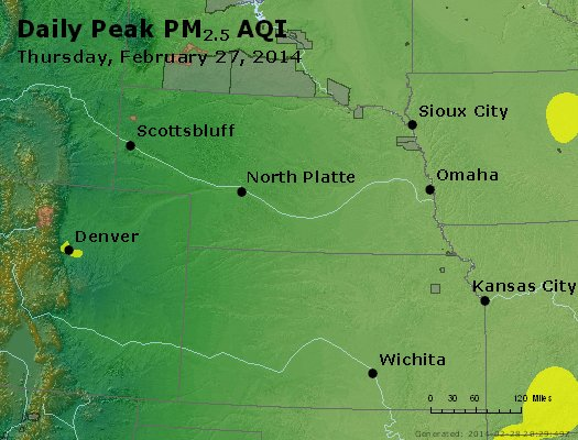 Peak Particles PM<sub>2.5</sub> (24-hour) - http://files.airnowtech.org/airnow/2014/20140227/peak_pm25_ne_ks.jpg