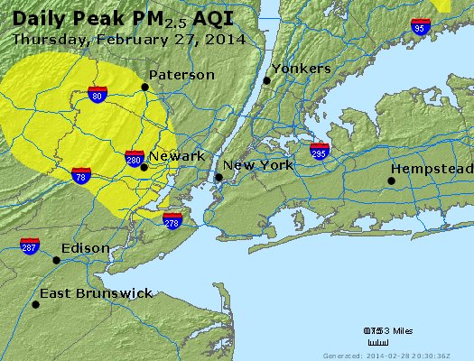 Peak Particles PM<sub>2.5</sub> (24-hour) - http://files.airnowtech.org/airnow/2014/20140227/peak_pm25_newyork_ny.jpg