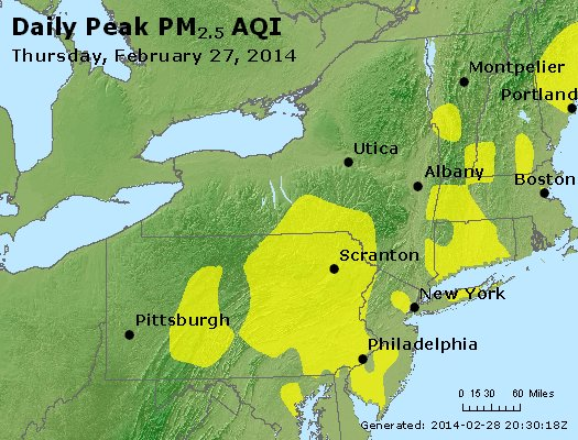 Peak Particles PM<sub>2.5</sub> (24-hour) - http://files.airnowtech.org/airnow/2014/20140227/peak_pm25_ny_pa_nj.jpg