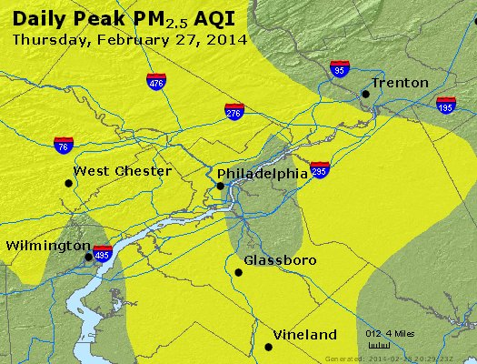 Peak Particles PM<sub>2.5</sub> (24-hour) - http://files.airnowtech.org/airnow/2014/20140227/peak_pm25_philadelphia_pa.jpg