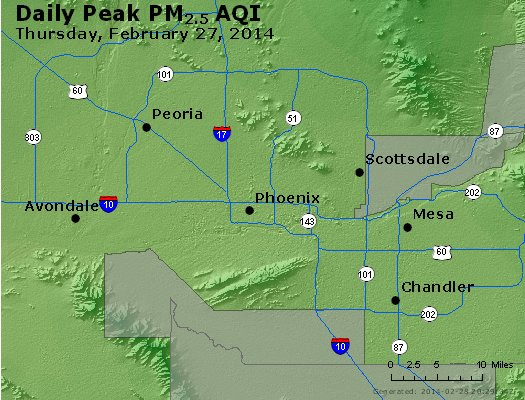 Peak Particles PM<sub>2.5</sub> (24-hour) - http://files.airnowtech.org/airnow/2014/20140227/peak_pm25_phoenix_az.jpg