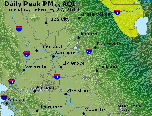 Peak Particles PM<sub>2.5</sub> (24-hour) - http://files.airnowtech.org/airnow/2014/20140227/peak_pm25_sacramento_ca.jpg