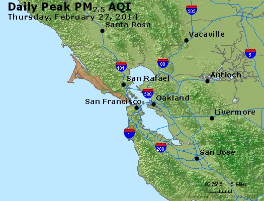 Peak Particles PM<sub>2.5</sub> (24-hour) - http://files.airnowtech.org/airnow/2014/20140227/peak_pm25_sanfrancisco_ca.jpg