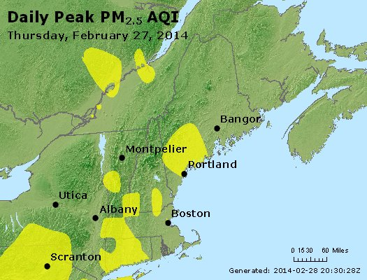 Peak Particles PM<sub>2.5</sub> (24-hour) - http://files.airnowtech.org/airnow/2014/20140227/peak_pm25_vt_nh_ma_ct_ri_me.jpg