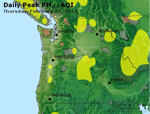 Peak Particles PM<sub>2.5</sub> (24-hour) - http://files.airnowtech.org/airnow/2014/20140227/peak_pm25_wa_or.jpg