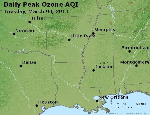 Peak Ozone (8-hour) - http://files.airnowtech.org/airnow/2014/20140304/peak_o3_ar_la_ms.jpg