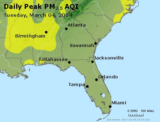 Peak Particles PM<sub>2.5</sub> (24-hour) - http://files.airnowtech.org/airnow/2014/20140304/peak_pm25_al_ga_fl.jpg