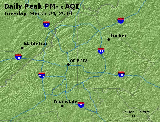 Peak Particles PM<sub>2.5</sub> (24-hour) - http://files.airnowtech.org/airnow/2014/20140304/peak_pm25_atlanta_ga.jpg