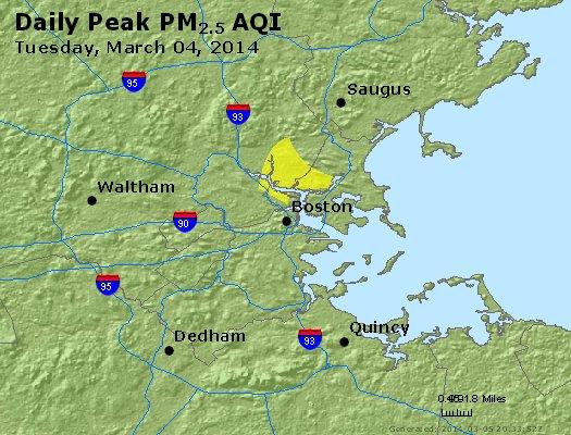 Peak Particles PM<sub>2.5</sub> (24-hour) - http://files.airnowtech.org/airnow/2014/20140304/peak_pm25_boston_ma.jpg