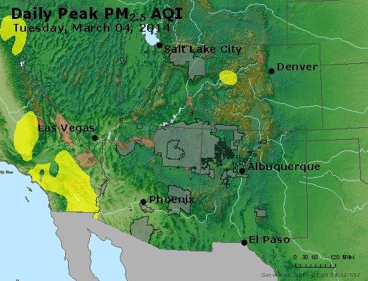 Peak Particles PM<sub>2.5</sub> (24-hour) - http://files.airnowtech.org/airnow/2014/20140304/peak_pm25_co_ut_az_nm.jpg