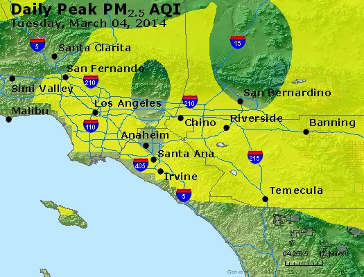 Peak Particles PM<sub>2.5</sub> (24-hour) - http://files.airnowtech.org/airnow/2014/20140304/peak_pm25_losangeles_ca.jpg