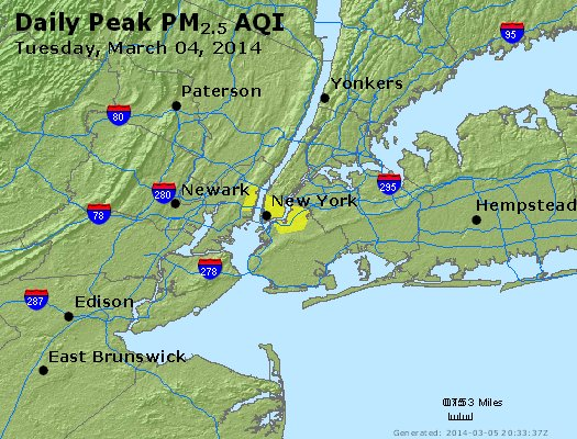 Peak Particles PM<sub>2.5</sub> (24-hour) - http://files.airnowtech.org/airnow/2014/20140304/peak_pm25_newyork_ny.jpg