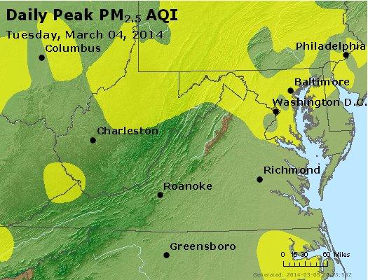 Peak Particles PM<sub>2.5</sub> (24-hour) - http://files.airnowtech.org/airnow/2014/20140304/peak_pm25_va_wv_md_de_dc.jpg