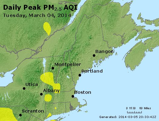 Peak Particles PM<sub>2.5</sub> (24-hour) - http://files.airnowtech.org/airnow/2014/20140304/peak_pm25_vt_nh_ma_ct_ri_me.jpg