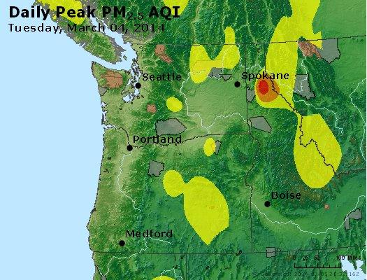 Peak Particles PM<sub>2.5</sub> (24-hour) - http://files.airnowtech.org/airnow/2014/20140304/peak_pm25_wa_or.jpg