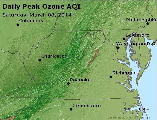 Peak Ozone (8-hour) - http://files.airnowtech.org/airnow/2014/20140308/peak_o3_va_wv_md_de_dc.jpg