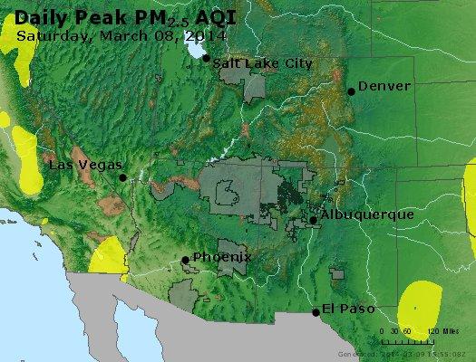 Peak Particles PM<sub>2.5</sub> (24-hour) - http://files.airnowtech.org/airnow/2014/20140308/peak_pm25_co_ut_az_nm.jpg