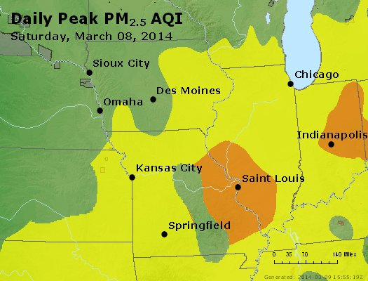 Peak Particles PM<sub>2.5</sub> (24-hour) - http://files.airnowtech.org/airnow/2014/20140308/peak_pm25_ia_il_mo.jpg