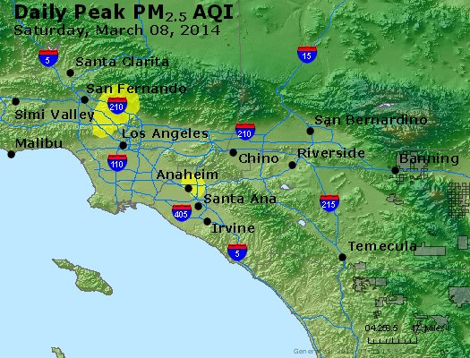 Peak Particles PM<sub>2.5</sub> (24-hour) - http://files.airnowtech.org/airnow/2014/20140308/peak_pm25_losangeles_ca.jpg