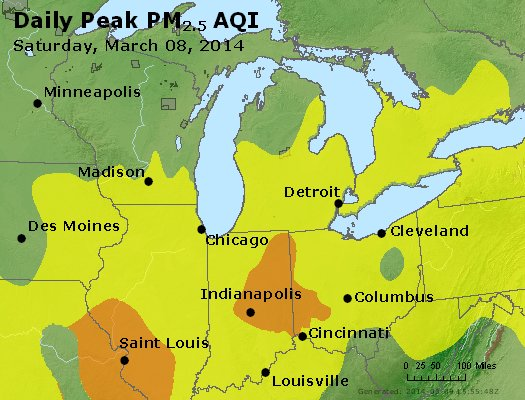 Peak Particles PM<sub>2.5</sub> (24-hour) - http://files.airnowtech.org/airnow/2014/20140308/peak_pm25_mi_in_oh.jpg