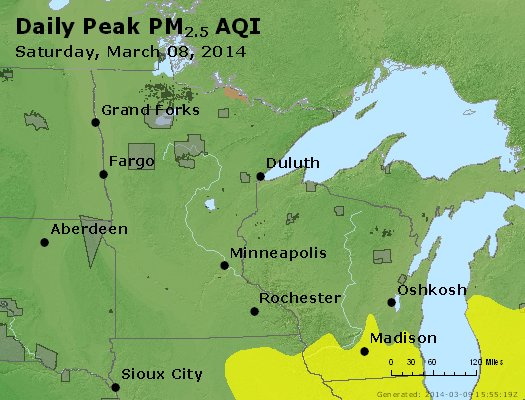 Peak Particles PM<sub>2.5</sub> (24-hour) - http://files.airnowtech.org/airnow/2014/20140308/peak_pm25_mn_wi.jpg
