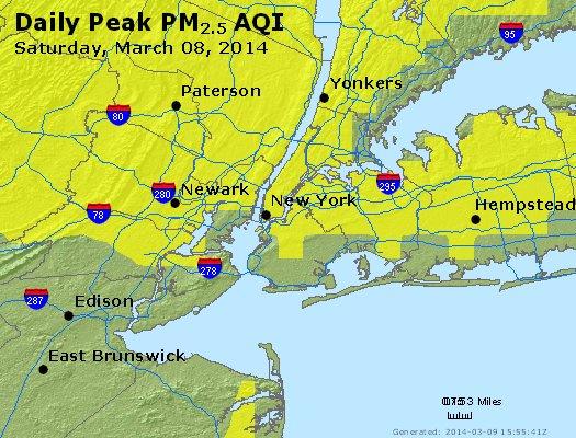 Peak Particles PM<sub>2.5</sub> (24-hour) - http://files.airnowtech.org/airnow/2014/20140308/peak_pm25_newyork_ny.jpg