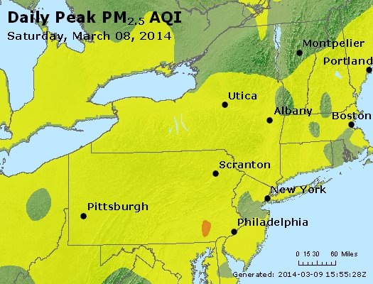 Peak Particles PM<sub>2.5</sub> (24-hour) - http://files.airnowtech.org/airnow/2014/20140308/peak_pm25_ny_pa_nj.jpg