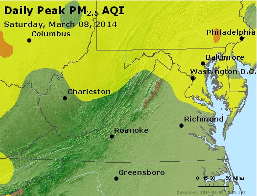 Peak Particles PM<sub>2.5</sub> (24-hour) - http://files.airnowtech.org/airnow/2014/20140308/peak_pm25_va_wv_md_de_dc.jpg