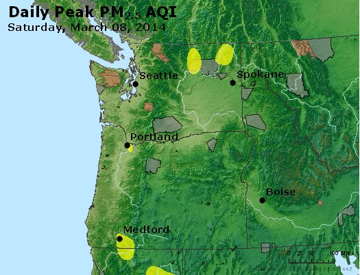 Peak Particles PM<sub>2.5</sub> (24-hour) - http://files.airnowtech.org/airnow/2014/20140308/peak_pm25_wa_or.jpg